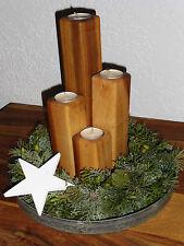 4tlg Holz Kerzenhalter Teelichthalter Tischdeko Adventsdeko Eiche natur geölt
