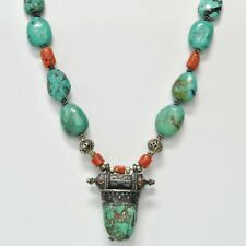 Antique RARE Tibetan Chinese Turquoise & Coral Sterling Silver Beads Necklace