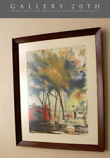 """RARE! EDGAR WHITNEY WATERCOLOR PAINTING! """"RED HOUSE , BLUE & YELLOW TREES"""""""
