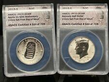2019-S Apollo 11 50th Anniversary Half Dollar Set ANACS RP70 PR70 1st Day (2603)