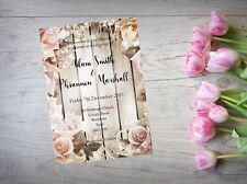 Personalised Handmade Wedding Day or Evening Invitation x 50 Floral Flowers WI64