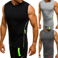 Men Slim Fit Sleeveless Muscle Tee T-shirt Casual Jogger Sport Gym Tank Vest Top
