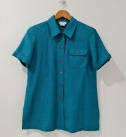 Katies Vintage Women's Top Size 19 Green Collared Button Up Short Sleeve