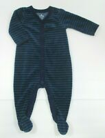 INFANT BOYS BABY GAP BLUE & GREEN STRIPED VELOUR FOOTIE OUTFIT SIZE 3-6 MONTHS