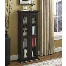 Wood Glass Display Cabinet Modern Curio Case Cabinet Small Trophy With  Doors NEW