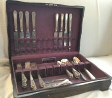 44 pc 1924  ANCESTRAL 1847 Rogers Silverplate Flatware Set Soups Butters +
