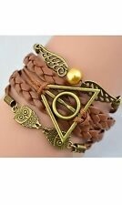 Harry Potter Golden Snitch Deathly Hallows Metal Owl Braided Bracelet Bangle