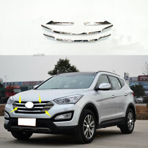 4*ABS Chrome Front Grille Grill Cover Trim For Hyundai Santa Fe Sports 2013~2017