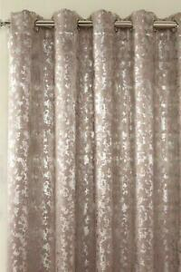 "GLAMOUR METALLIC FOIL WOVEN EYELET BLOCKOUT PAIR OF CURTAINS 90"" NATURAL"