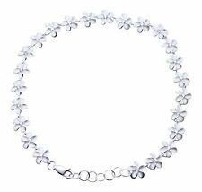 "Plumeria Flower Solid 9"" 10"" Cz 925 Sterling Silver Anklets Foot Chain 8mm"