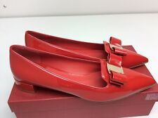 Salvatore Ferragamo Alice Pointed Toe Flat Lipstick Red Heel Size 11 B women's