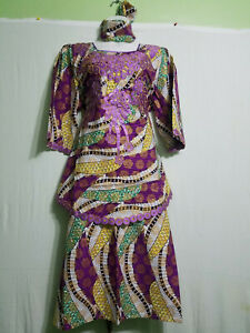 Women Clothing African Wax Print Lace Poncho Skirt Suit Purple Gold Free Size