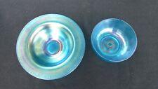 2 Pieces of Celeste Blue Stretch Glass! Antique Carnival Glass