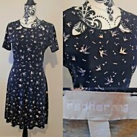 Red Herring Navy Bird Print Skater Dress Vintage Tea Dress Style Size 12