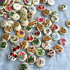 15mm Wood Button Animals Round 2 Holes Scrapbooking DIY Sewing Craft 100pcs