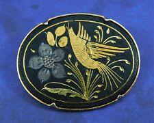 Vintage Damascene Brooch Pin Flower Bird Leaves Trombone Clasp Rare Unique