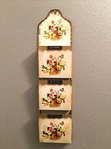 Vtg 3 Slot Mail Letter Bill Wall Organizer Rack Holder Flower Butterfly Fruit