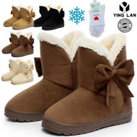 Women's Winter Warm Suede Ankle Snow Boots Fur Thicken Ski Flats Casual Shoes A9