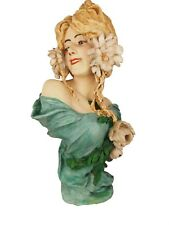 TOP Antique Art Nouveau 1900 Bust By Cherc, Goldscheider Girl with Flowers