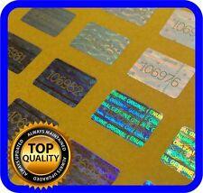 1050 Hologramm Etiketten mit Seriennummern, Siegel, Garantie, Aufkleber 16x10mm