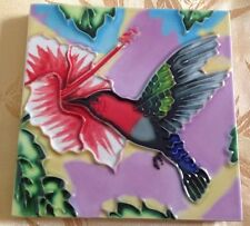 "Ceramic Art Tile $X4"" Red Hummingbird Flower Vibrant Hand Painted Wall Decor"