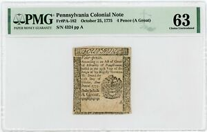 (PA-182) Oct. 25, 1775 4 Pence PENNSYLVANIA Colonial Currency - PMG CU 63