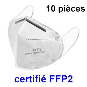Masque de protection respiratoire certifié CE standard FFP2, 10 pièce avec suivi