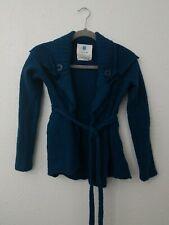 Anthropology Sparrow cardigan Sweater 100% Merino Wool Teal Blue Small