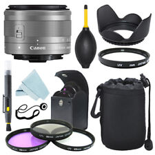Canon EF-M 15-45mm f/3.5-6.3 IS STM Lens Silver + Filter Kit + Accessory