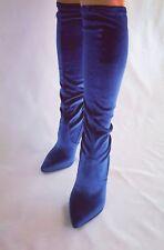 FIORE Italy Damen Samt Stiefel  Royalblau OVP 119€ Gr.40