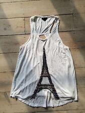 Topshop Size 10 White Vintage Paris Eiffel Tower Beaded Vest Top