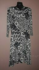 Ladies flare stretch all seasons black & white any occasion dress size 16 by TU