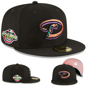 New Era Arizona Diamondbacks Fitted Hat MLB 01 World series Pink Under Brim Cap