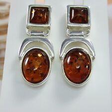 A365 Ohrringe Earrings 925 Silber Schmuck baltische Bernstein Amber Modern