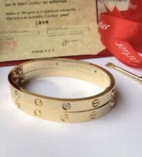 Popular Women's Gold Love Bangle Bracelet W/ Diamonds Size 21 Cm/ 8.2 In W/Pouch