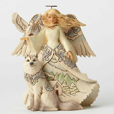 Enesco Jim Shore White Woodland Angel with Husky NIB  Item #4053689