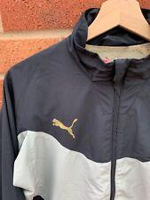 Puma Grey Black Gold Sports Jacket Mens Coat Size S Zip Up Mesh Lined