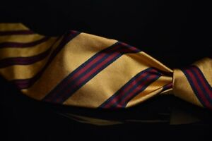 Polo Ralph Lauren Hand Made Italy Brass Yellow Red Blue Repp Stripe Silk Tie NR