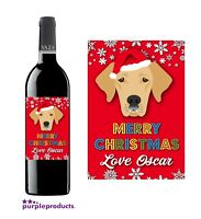 Personalised Christmas Labrador Pet Dog Wine, Beer Bottle Label