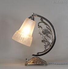 MULLER FRERES : FRENCH 1930 ART DECO LAMP  bird lampe degué era nickel on bronze