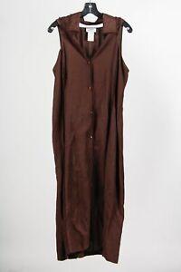 Vintage Montana Coffee Linen Blend Women's Fringe Trim Maxi Sheath Dress Sz 48