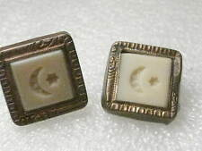 "Truly Vintage Art Deco Masonic Cuff Links, signed Trade Mark- Brass 3/4"" square"