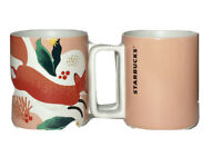 STARBUCKS Mugs Cups Coffee Tea Fox Coral Salmon White 12 oz D Handle Set of 2