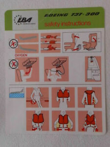 SAFETY CARD EBA EUROBELGIAN AIRLINES BOEING 737-300 LEASED FROM TEA