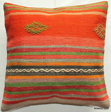 (45*45cm, 18inch) Boho style hand woven kilim cover oranges green striped