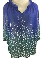 Coldwater Creek sheer top size PS 8 3/4 sleeve blouse blue green flower NEW