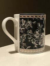 Royal Doulton*Studio Provence*Noir Coffee Mug Tea Cup White Black Floral*2001