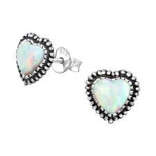 Sterling Silver 925 Fire Snow White Opal Oxidized Heart Stud Earrings