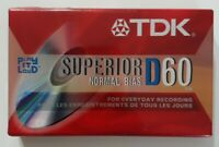 TDK D60 High Output Superior Normal Bias Blank Audio Cassette Tape NEW