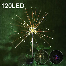 120 LED Solar Powered Firework Starburst Stake Light Warm White Garden Outdoor